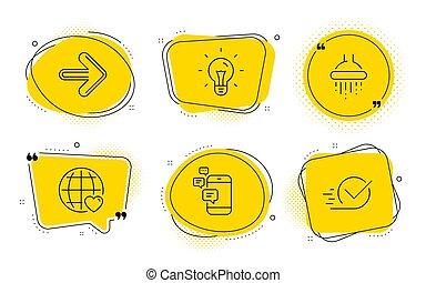 Idea, amor internacional y iconos de comunicación establecidos. La ducha, la siguiente y los letreros de la caja. Vector