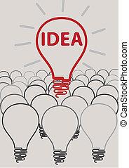 Idea bombilla concepto creativo