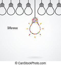 Idea de bombilla creativa y concepto de diferencia