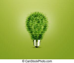 Idea de bombilla verde