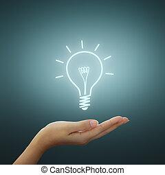 Idea de luz en la mano