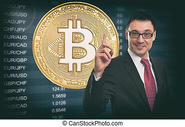 Idea de negocios. La tasa de cambio de moneda. Bitcoin.