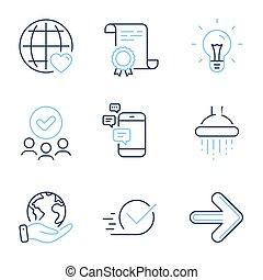 idea, ducha, set., iconos, internacional, signs., checkbox, vector, amor, luego, comunicación