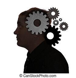 Idea pensando con cosas en la cabeza