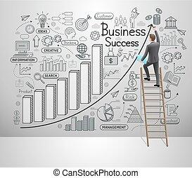 idea, set., vector, ilustración, style., wall., doodles, iconos, hombre de negocios, empresa / negocio, éxito, dibujo