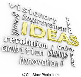 Ideas de fondo, visión de innovación palabras 3D