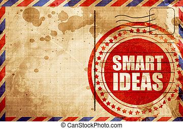 Ideas inteligentes, sello de grunge rojo en un historial de correo aéreo