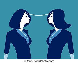 ideas., persona, empresa / negocio, vector, illustration., concepto, connection., intercambio