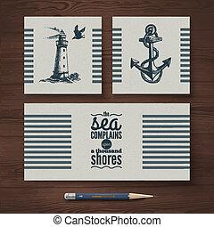Identidad de vector de carteles de viaje. Plantas de diseño náutico marino e ilustraciones dibujadas a mano