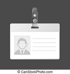 identificación, vector, identificación, blanco, insignia, template., tarjeta
