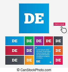 idioma, alemán, de, señal, deutschland., icon.