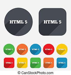 idioma, markup, símbolo., señal, html5, nuevo, icon.