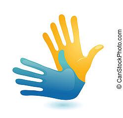 idioma, sordo, dos, símbolo., vector, diseño, brazos, gesto mano, icono
