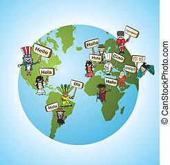 idiomas, concepto, traducir, global
