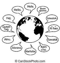 idiomas, decir, tierra, mundo, traducir, hola