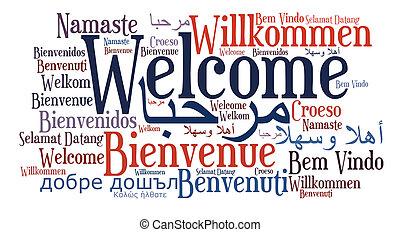 idiomas, frase, diferente, bienvenida
