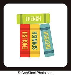 idiomas, libros, estilo, icono, plano, extranjero