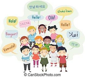 idiomas, stickman, niños, discurso, ilustración, burbuja