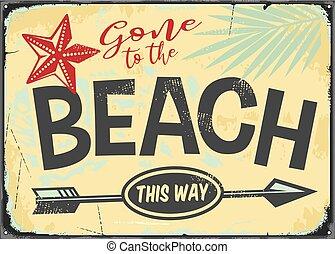 ido, vector, señal, retro, playa