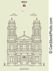 iglesia, braga, señal, bom, portugal., icono, jesús