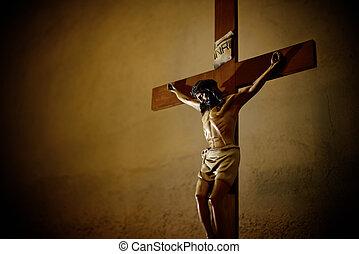 Iglesia católica y Jesucristo en el crucifijo