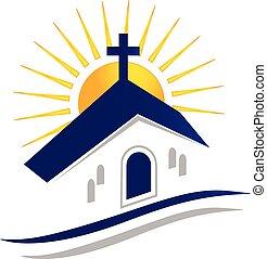 Iglesia con logo solar icono vector