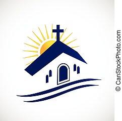 Iglesia con logotipo solar
