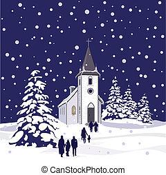Iglesia de invierno por la noche