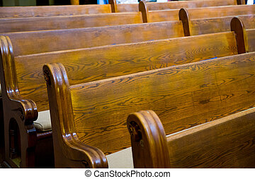 iglesia, histórico, madera, pews