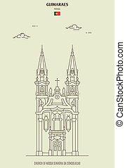 iglesia, nossa, senhora, da, consolacao, guimaraes, señal, portugal., icono