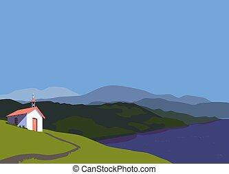 iglesia, plano, montañas, rural, color, vector, pequeño