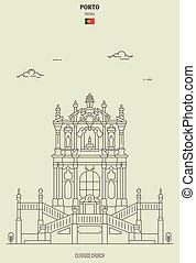 iglesia, señal, porto, portugal., icono, clerigos