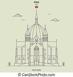 iglesia trinidad, señal, norway., icono, oslo