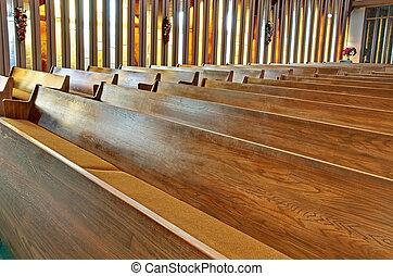 iglesia, vacío, pews
