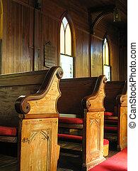 iglesia, viejo, pews