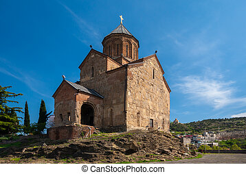 iglesia, vista, metekhi, viejo, tbilisi, pueblo, georgia