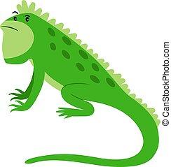 Iguana reptil exótico icono de dibujos animados
