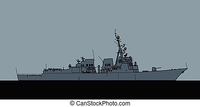 ii, marina, vuelo, arleigh, destroyer., guiado, misil, burke-class, nosotros