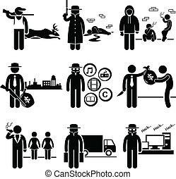 ilegal, actividad, trabajos, crimen