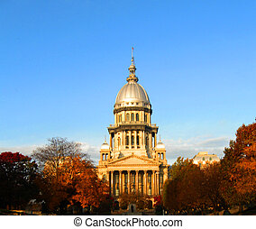 illinois, capitolio de estado federal, luz, mañana, otoño