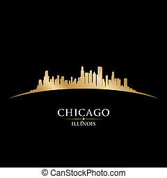 illinois, chicago, fondo negro, contorno, ciudad, silueta