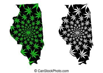Illinois - el mapa está diseñado hoja de cannabis