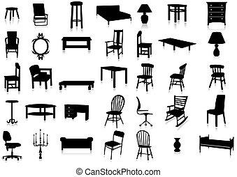 illustr, vector, silueta, muebles