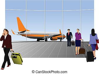illustratio, aeropuerto, vector, escena