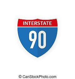 illustration., 90, icono, interestatal, aislado, blanco, carretera, camino, fondo., vector, señal