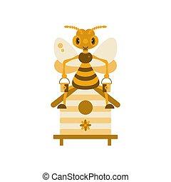 illustration., abeja, hive.