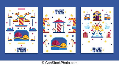 illustration., actividad, niños, bandera, vacaciones, familias, vector, carruseles, diversión, verano, parque, diversión, plano, conjunto, recinto ferial, attractions., iconos