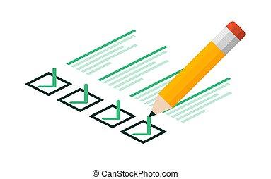 illustration., blanco, tableta, signo., fondo., aprobar, lista, cheque, vector