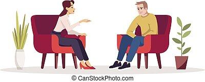 illustration., carácter, room., consultation., cómodo, rgb, meeting., teniendo, aislado, terapia, gente, vector, interview., caricatura, psicología, color, pareja, armchairs., conversación, sesión, semi, plano, blanco