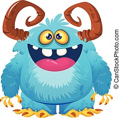 illustration., character., divertido, bigfoot, yeti, caricatura, vector
